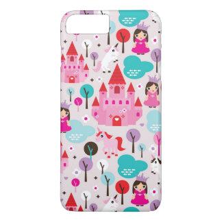 Coque iPhone 8 Plus/7 Plus château et licorne de princesse d'enfants