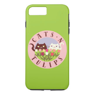 Coque iPhone 8 Plus/7 Plus Chic mignon de tulipes de chat de rose de ressort