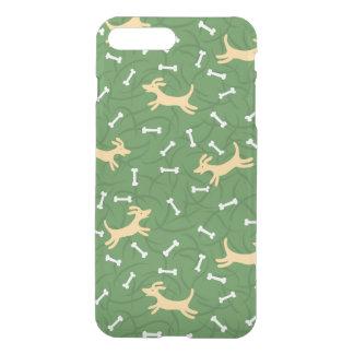 Coque iPhone 8 Plus/7 Plus chiens chanceux avec l'arrière - plan d'os