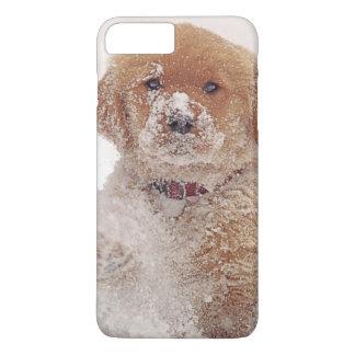 Coque iPhone 8 Plus/7 Plus Chiot de golden retriever dans la neige
