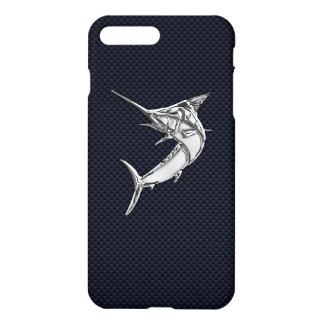 Coque iPhone 8 Plus/7 Plus Chrome Marlin sur la fibre de carbone