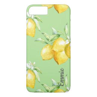 Coque iPhone 8 Plus/7 Plus Citrons jaunes sur vert clair