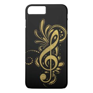 Coque iPhone 8 Plus/7 Plus Clef triple avec l'ornement décoratif d'or