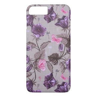 Coque iPhone 8 Plus/7 Plus cloches de main violettes et motif de papillons