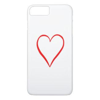 Coque iPhone 8 Plus/7 Plus Coeur peint sur l'arrière-plan blanc