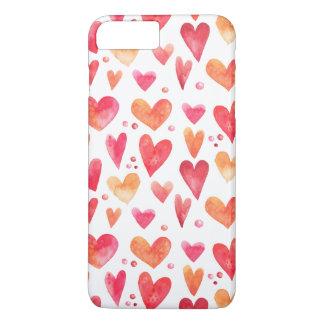 Coque iPhone 8 Plus/7 Plus COEURS d'aquarelle