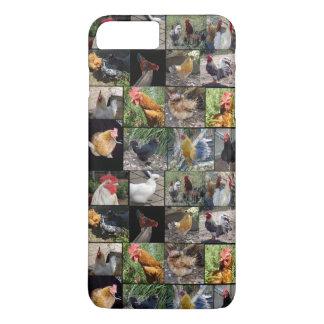 Coque iPhone 8 Plus/7 Plus Collage de photo de poulets et de coqs,