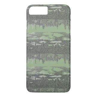 Coque iPhone 8 Plus/7 Plus Conception verte argentée d'horizon sur le cas de