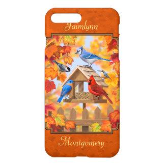 Coque iPhone 8 Plus/7 Plus Conducteur d'oiseau recueillant l'orange d'automne