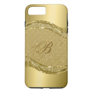 Coque iPhone 8 Plus/7 Plus Copie métallique d'or avec le motif de diamants