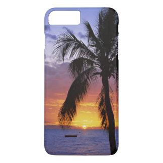 Coque iPhone 8 Plus/7 Plus Coucher du soleil tropical avec le palmier