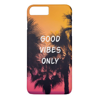 Coque iPhone 8 Plus/7 Plus Coucher du soleil tropical de paumes de plage de