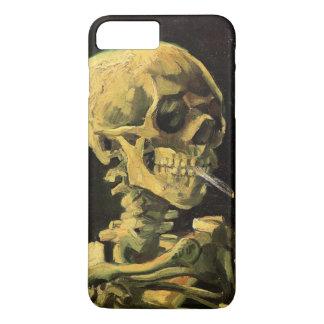 Coque iPhone 8 Plus/7 Plus Crâne de Van Gogh avec la cigarette brûlante, art