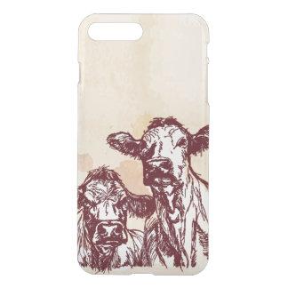 Coque iPhone 8 Plus/7 Plus Croquis d'aspiration de main de deux vaches et cru
