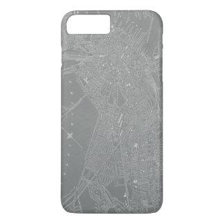 Coque iPhone 8 Plus/7 Plus Croquis de carte de ville de Boston