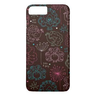 Coque iPhone 8 Plus/7 Plus cru de papier peint de l'Inde de fleur de paon