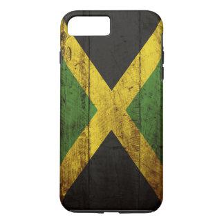 Coque iPhone 8 Plus/7 Plus Drapeau de la Jamaïque sur le vieux grain en bois