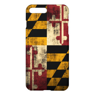 Coque iPhone 8 Plus/7 Plus Drapeau grunge du Maryland