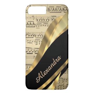 Coque iPhone 8 Plus/7 Plus Feuille de musique élégante personnalisée