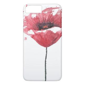 Coque iPhone 8 Plus/7 Plus Fleur de pavot, aquarelle
