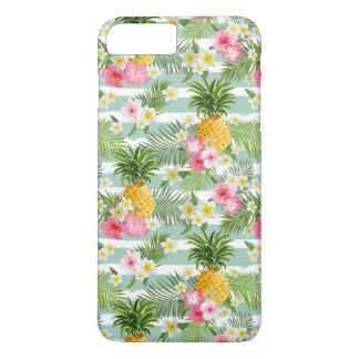 Coque iPhone 8 Plus/7 Plus Fleurs et ananas tropicaux sur les rayures