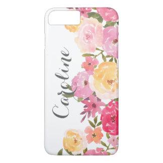 Coque iPhone 8 Plus/7 Plus Fleurs lunatiques jaunes roses d'aquarelle Girly