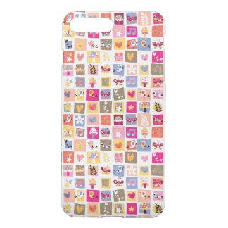 Coque iPhone 8 Plus/7 Plus fleurs mignonnes, oiseaux, motif de carrés de