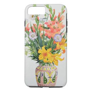 Coque iPhone 8 Plus/7 Plus Fleurs oranges et bleues dans un vase marocain