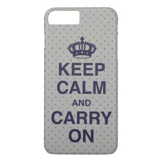 Coque iPhone 8 Plus/7 Plus GARDEZ le CALME ET CONTINUEZ/gris/pourpre