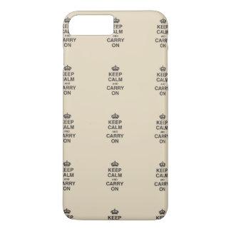 Coque iPhone 8 Plus/7 Plus GARDEZ le CALME ET CONTINUEZ/Tan