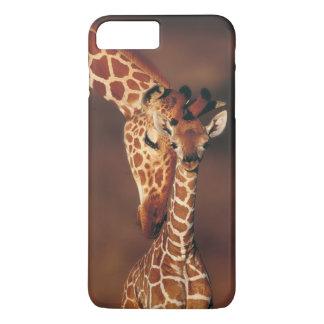 Coque iPhone 8 Plus/7 Plus Girafe adulte avec le veau (camelopardalis de