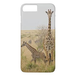 Coque iPhone 8 Plus/7 Plus Girafes de Maasai errant à travers le Maasai Mara