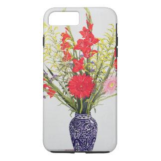 Coque iPhone 8 Plus/7 Plus Gladioli de lis tigrés et Scabious dans un bleu