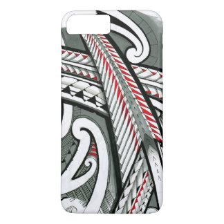 Coque iPhone 8 Plus/7 Plus hawai gris rouge d'île de conception de tatouage