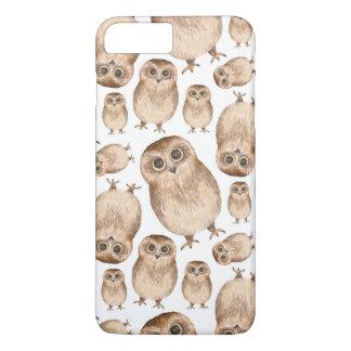 Coque iPhone 8 Plus/7 Plus Hibou mignon d'aquarelle. Oiseau sauvage. Motif