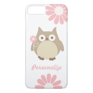 Coque iPhone 8 Plus/7 Plus Hibou mignon et fleurs roses personnalisés