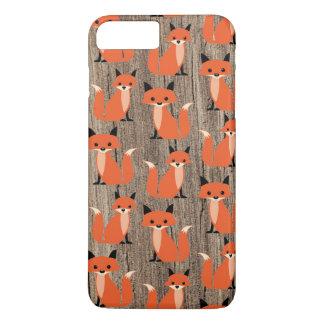 Coque iPhone 8 Plus/7 Plus Hippie lunatique mignon de renard en bois le rétro