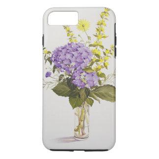 Coque iPhone 8 Plus/7 Plus Hortensia bleu avec la salicaire jaune