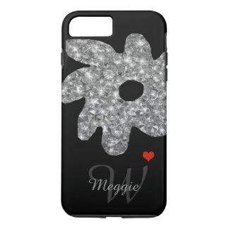 Coque iPhone 8 Plus/7 Plus jolie fleur d'éclat avec le nom et l'initiale