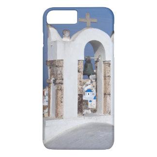 Coque iPhone 8 Plus/7 Plus La Grèce, Santorini. Tour de Bell et dômes bleus