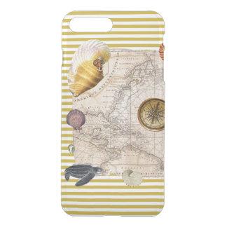 Coque iPhone 8 Plus/7 Plus La marine prise les rayures jaunes de moutarde