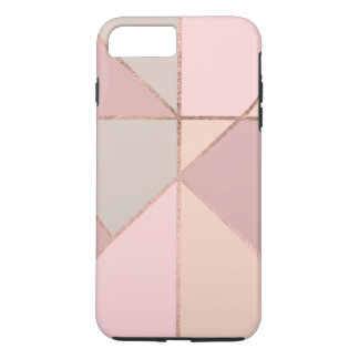 Coque iPhone 8 Plus/7 Plus La pêche rose chic d'or bronzage rougissent bloc
