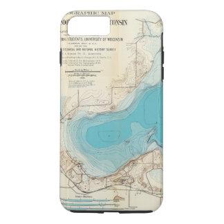 Coque iPhone 8 Plus/7 Plus Lac hydrographique Mendota de carte