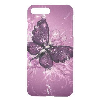 Coque iPhone 8 Plus/7 Plus le beau remous de pourpre buterfly raye l'art de