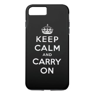 Coque iPhone 8 Plus/7 Plus Le blanc noir gardent le calme et continuent