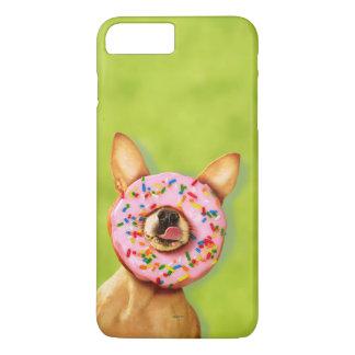Coque iPhone 8 Plus/7 Plus Le chien drôle de chiwawa avec arrosent le beignet