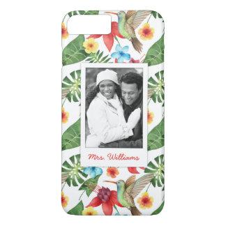 Coque iPhone 8 Plus/7 Plus Le colibri tropical   ajoutent votre photo et