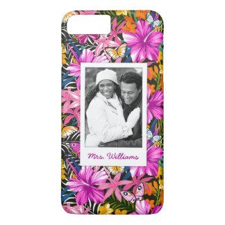 Coque iPhone 8 Plus/7 Plus Le feuille et les fleurs tropicaux   ajoutent