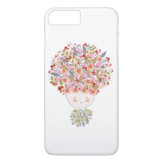 Coque iPhone 8 Plus/7 Plus Le griffonnage fleurit le beau visage de fille
