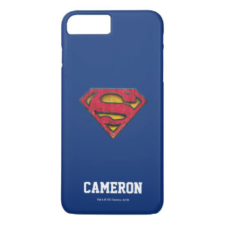Coque iPhone 8 Plus/7 Plus Le logo affligé par | | de S-Bouclier de Superman